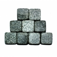 Set of unpolished cubes for whiskey from steatite