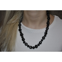 "Necklace ""Pellet cubes"" with Black glass beads"